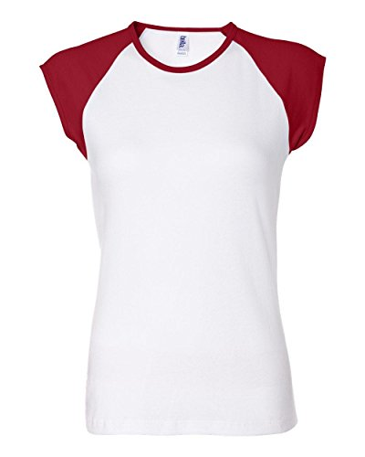Bella Womens Baby Rib Contrast Cap-Sleeve Raglan T-Shirt in WHITE-RED in Large