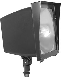 RAB Lighting EZSH150QT High Pressure Sodium EZ Floodlight, ED17 Type, Aluminum, 150W Power, 16000 Lumens, 120/208/240/277V, Bronze Color ()