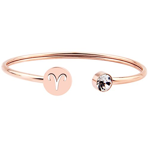 (Zuo Bao Simple Rose Gold Zodiac Sign Cuff Bracelet with Birthstone Birthday Gift for Women Girls (Aries) )