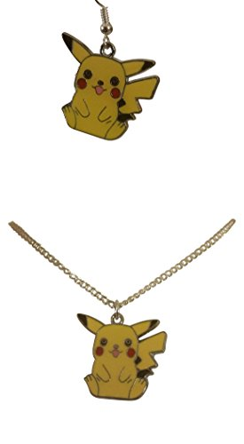 Fun Pokemon Character, Pikachu 18 inch Necklace and Earrings Gift Boxed with Ornate Organza Gift Bag!