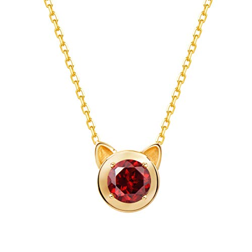 Carleen 14k Solid Yellow Gold Round 0.736ct Garnet Cat Ear Pendant Kitty Necklace For Women Girls, 16