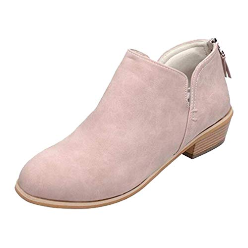Hibote Womens Ladies Faux Leather Chelsea Ankle Boots Autumn Mid High Heel Block Heel Zip Back Rounded Toe School Work Shoes Pink