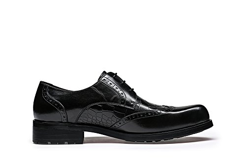 Leather Black Shoes Borgue Santimon Wingtip Men 5qHHwY