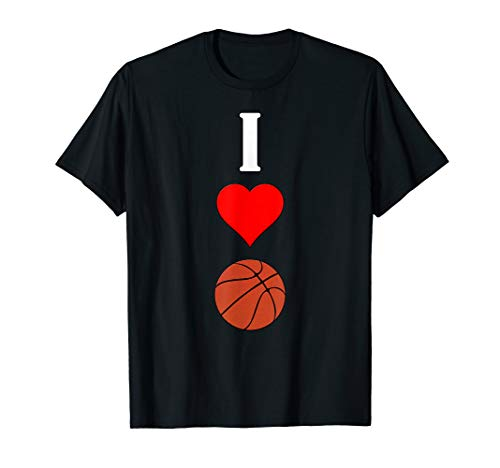 (Vertical I Love (Heart) Basketball Sports Player T-Shirt)