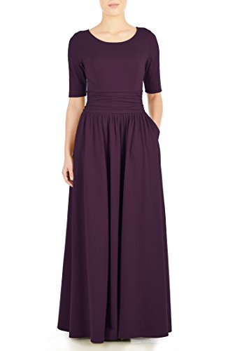 eShakti Women's Ruched waist cotton knit maxi dress 2X-20W Tall Purple