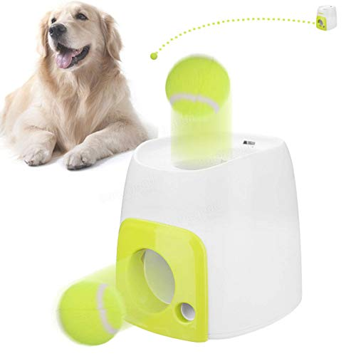 Automatic Pet Dog Launcher Tennis Toys Fetch Thrower Throw Up Hyper Game Outdoor Toys - Dog Dog Toys - 1 x AUGIENB Mini Table Fan]()