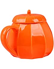 Hemoton 2pcs Mugs Pumpkin Shaped Coffee Mug with Lid Ceramics Beverage Drinking Mug for Halloween Thanksgiving Gifts