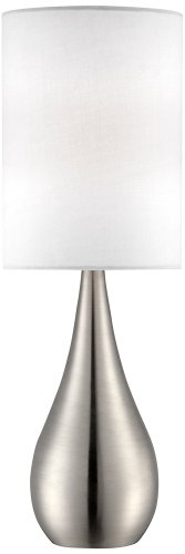 "Modern Accent Table Lamp Brushed Steel Metal Teardrop White Cylinder Shade for Living Room Family Bedroom Office - 360 Lighting - 21"" high overall. Base is 3 1/2"" wide. Shade is 7"" across the top and bottom x 10"" high. Weighs 1.9 lbs. Uses one maximum 100 watt standard base bulb (not included). Push on-off switch below the socket. Metal table lamp with teardrop droplet shape. The design is from the 360 Lighting brand. - lamps, bedroom-decor, bedroom - 31Jhj84dCYL -"