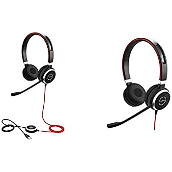 Jabra Evolve 40 UC Stereo Corded Headset w// Built-In 3.5mm Jack /& USB Adapter