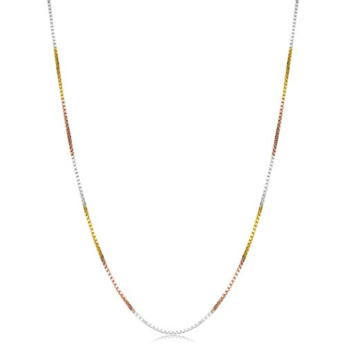 Kooljewelry Tricolor Sterling Silver Venetian Box Chain Necklace (0.8 mm, 30 inch)