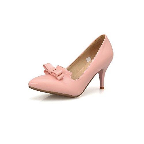 Allhqfashion Dames Effen Pu Hoge Hakken Puntig Gesloten Teen Pull-on Pumps-schoenen Roze