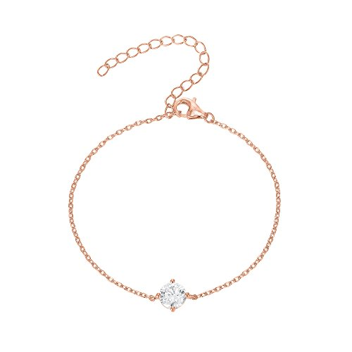 PAVOI 14K Gold Plated Simulated Solitaire Diamond Bracelet - Rose (Rose Gold Plated Gold Bracelet)