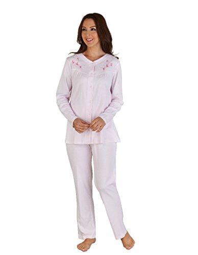 Slenderella Pink Cotton Embroidered Long Sleeve Pyjama Set PJ04122