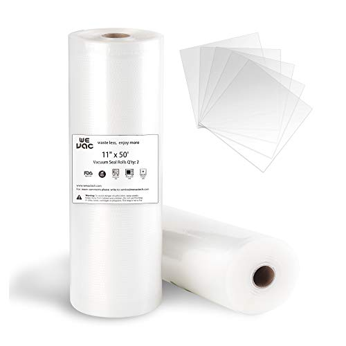 Vacuum Sealer Bags 11x50 Rolls 2 pack for Food Saver, Seal a Meal, Gamesaver, Weston. Commercial Grade, BPA Free, Heavy Duty, Puncture Prevention, Great for vac storage, Meal Prep or Sous Vide