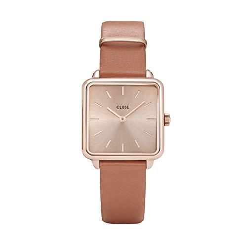 CLUSE LA TÉTRAGONE Rose Gold Butterscotch CL60010 Women's Watch 29mm Square Dial Leather Strap Minimalistic Design Casual Dress Japanese Quartz Elegant Timepiece
