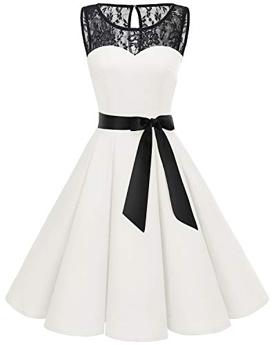 Bbonlinedress Women's 1950s Vintage Rockabilly Swing Dress Lace Cocktail Prom Party Dress White XL