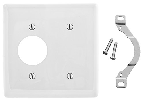 Bryant Electric NP147W 2-Gang 1-Blank 1-Single Receptacle Opening Strap Mount Nylon Wallplate, Standard/35.6mm, White