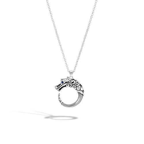 John Hardy Women's Legends Naga Silver Pendant- on 2mm Mini Rolo Chain -