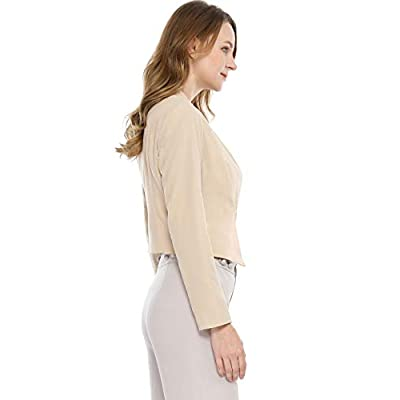 Allegra K Women's Collarless Work Office Business Casual Cropped Blazer at Women's Clothing store
