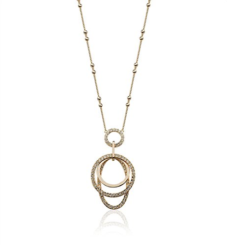 Oval and Round Shaped with Cubic Ziconia 25 Long Chain Pendant Necklace Fashion Jewelry for Women