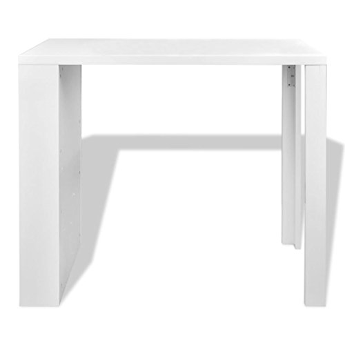 Daonanba Contemporary Designed High Gloss Bar Coffee Table Dining Table With 3-layer Rack White Sturdy MDF Home Decor