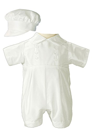 Little Things Mean A Lot Baby Boys Silk Christening Outfit Christening Baptism Romper with Bonnet Hat 12M