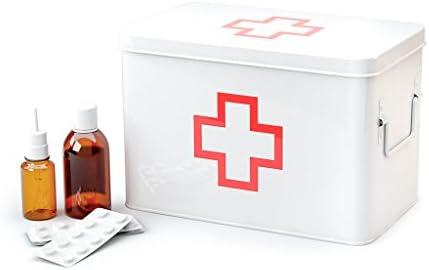 Balvi Botiquín L Color Blanco Caja Grande para medicamentos con Bandeja Superior con Asas Metal 31,5cm: Amazon.es: Hogar