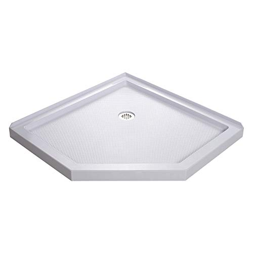 - DreamLine SlimLine 42 in. D x 42 in. W x 2 3/4 in. H Corner Drain Neo-Angle Shower Base in White