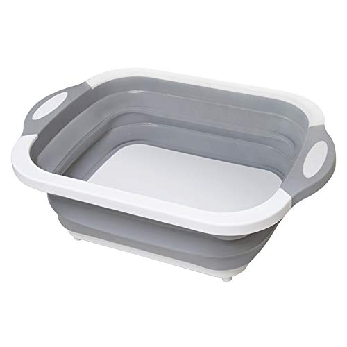 Tiakino Collapsible Cutting Board, Multifunction Drain Basket Vegetable Basin Portable Tub for Kitchen
