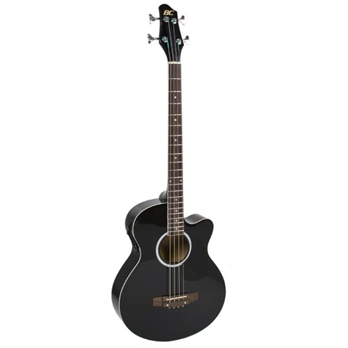 Electric Acoustic Bass Guitar Black Solid Wood Construction With Equalizer New (Electric Guitar Acoustic)