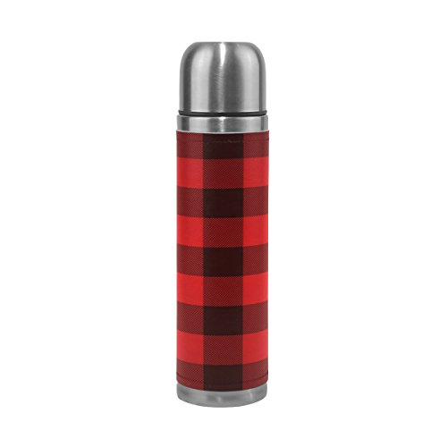 Thermos Retro (ALAZA Red and Black Plaid Double Wall Stainless Steel Water Bottle Vacuum Insulated Thermos Flask 17 Oz Genuine Leather Wrapped)