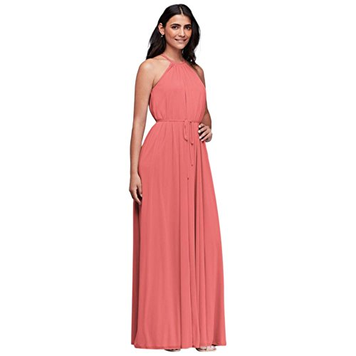 David's Bridal Soft Mesh Halter Bridesmaid Dress With Slim Sash Style F19533, Coral Reef, 12 - Coral Halter Dress