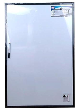 Pizarra blanca iman marco negro 90x60