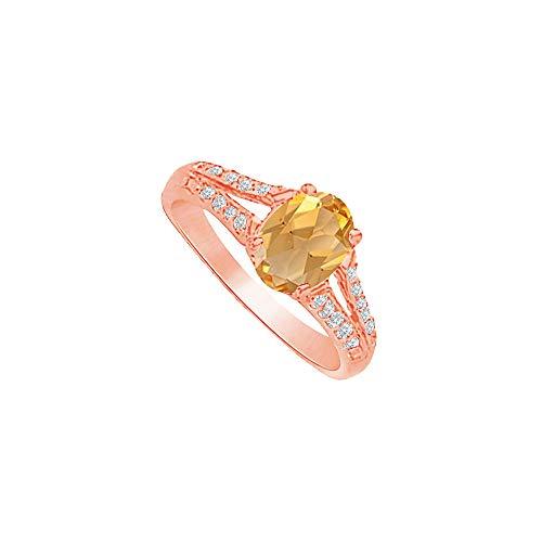 Radiant Love Citrine and CZ Split Shank Ring in Vermeil