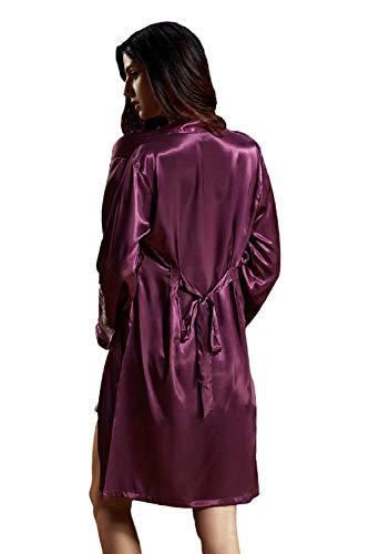 Bastante Negligee Señoras Otoño De Pijama Cómodo Primavera Vintage Elegante Suave Las Camisón Purple Moda v8wAq