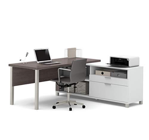 Bestar Pro-Linea L-Desk with Drawers, White/Bark Grey