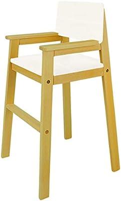 Silla infantil de madera maciza de haya de color nogal, para mesa ...