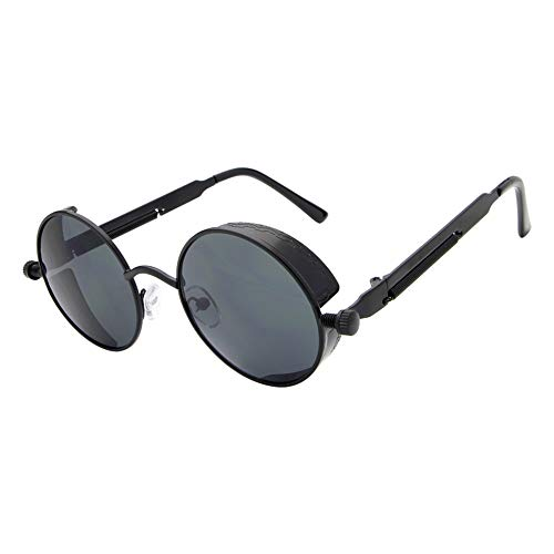 Black con Sol Grey Gafas FKSW Unisex Oro De Sol De Negro Steampunk para Espejo De De Mujer Recubrimiento Gafas Gafas Hombre Redondo Gafas Sol 7ZFwZqBEn