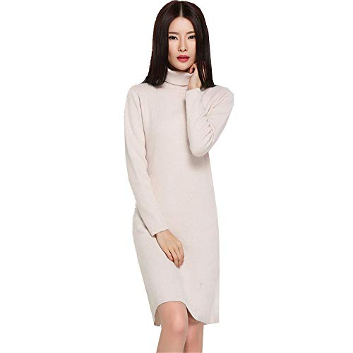 Alto Manica Maglione Caldo Bianco Sexy Slim Crema A Lunga Shirloy Collo Dress q4O8c1Wp