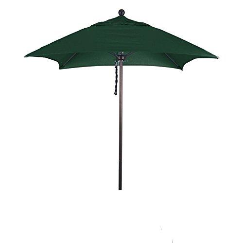- California Umbrella Aluminum/Fiberglass Push Open, Bronze Pole and Sunbrella Forest Green Umbrella, 6' Square
