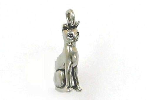 (Sterling Silver 3-D Sitting Cat Charm - Jewelry Accessories Key Chain Bracelet Necklace)