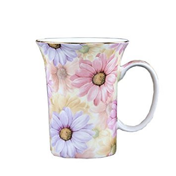 ufengke Creative European Bone China Cup Ceramic Coffee Mugs-Pink And Blue Chrysanthemum Flower - Blue Coffee Curved Flower