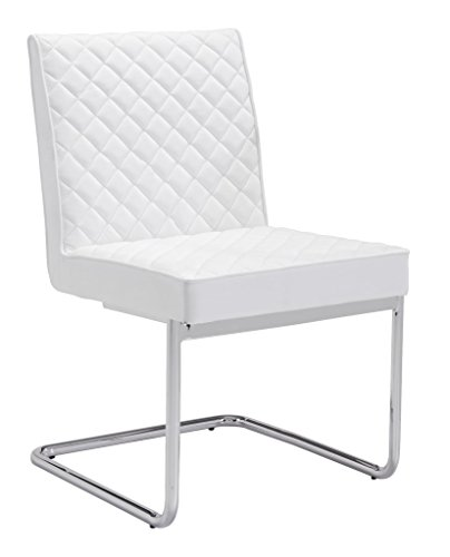 - Modern Contemporary Armless Dining Chair, White, Faux Leather