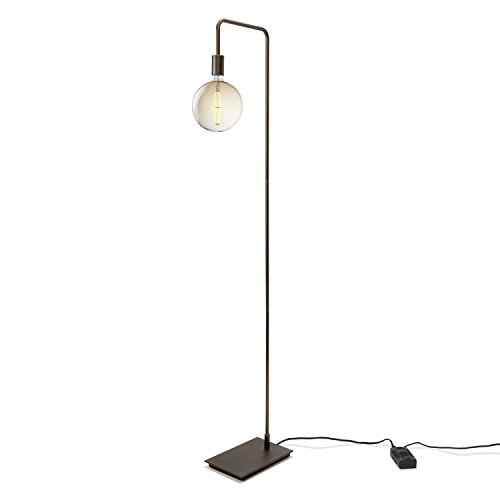 Brooklyn Bulb Co. Modern Bronze Floor Lamp, Contemporary Style Reading Light, Plugin, In-line Dimmer Included, ETL Listed, Hoyt Design (Bronze Pharmacy Floor Lamp)