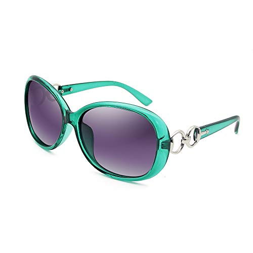 VeBrellen Luxury Women Polarized Sunglasses Retro Eyewear Oversized Goggles Eyeglasses (Transparent Green Frame Grey Lens, 60)