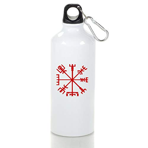 Wenlitee Viking Symbol Nordic Compass Aluminum Outdoor Sports Bottle Mountaineering Kettle White L