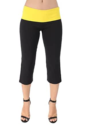 Yoga Fitness Gym Capri Pants with Color Fold Over Waist By Miami Style 479 (XS, black/bright yellow)