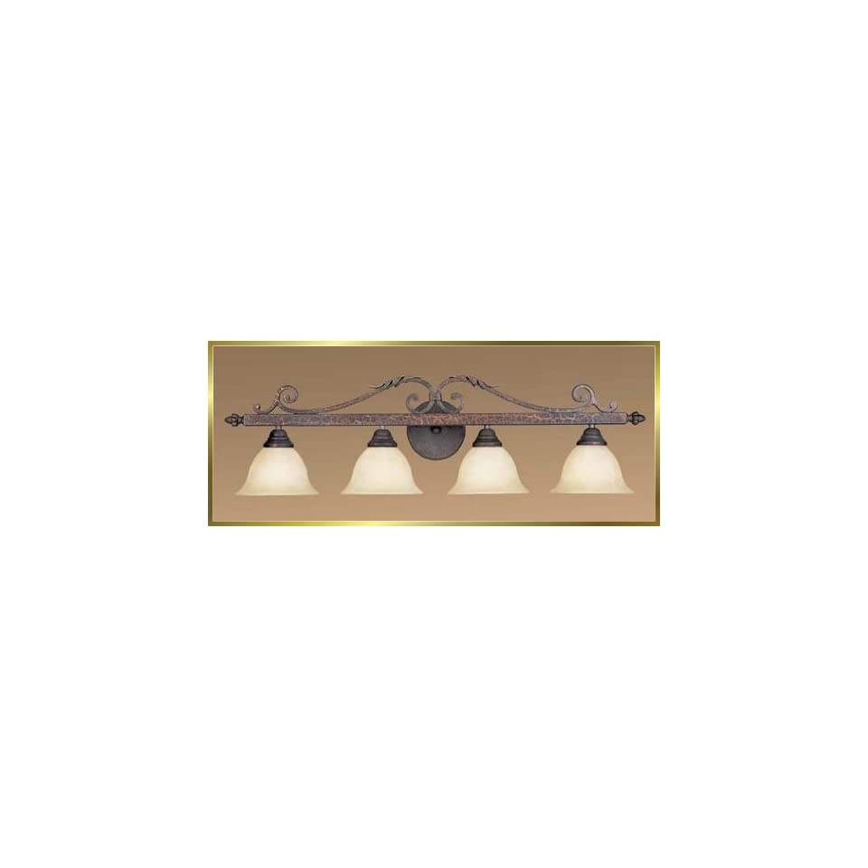 Wrought Iron Wall Sconce, JB 7224, 4 lights, Crackled Bronze, 37 wide X 10 high
