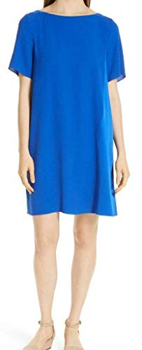 (Eileen Fisher Royal Silk Georgette Crepe Dress Size M)