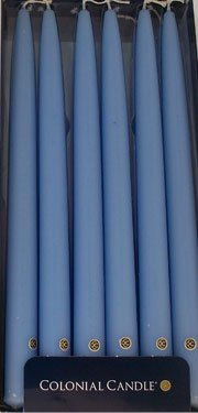 Colonial Candle Coastal Blue 12 in Handipt Taper Dinner Candles Box of 12